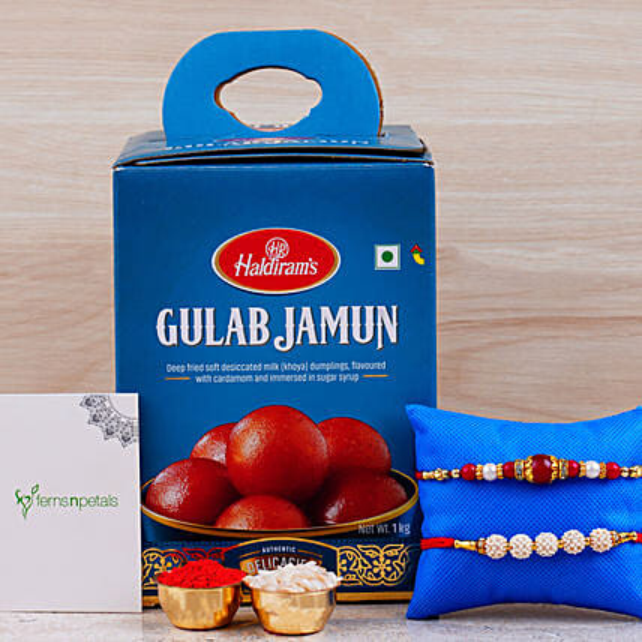 Set Of 2 Designer Rakhis And Gulab Jamun Tin:Rakhi With Greeting Cards to Canada