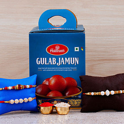Set Of 3 Designer Rakhis And Gulab Jamun Tin