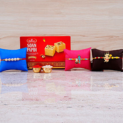 Set of 3 Rakhis And Box of Soan Papdi