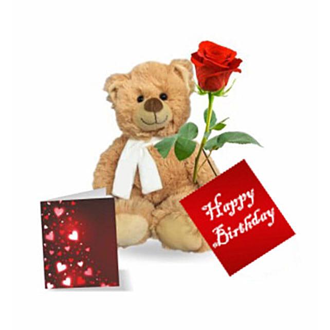 Single Rose N Teddy Bear
