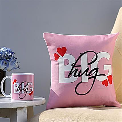 The Big Hug Coffee Mug and Cushion Combo
