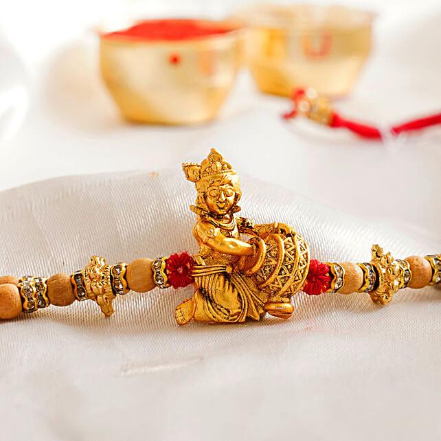 Traditional Golden Krishna Rakhi