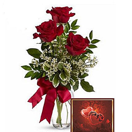 3 Red Roses With Greeting Card:Send Roses to Canada