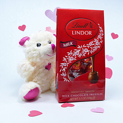 Teddy Bear And Lindt With Message Card Combo