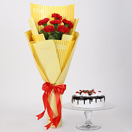6 Red Carnations And Black Forest Cake