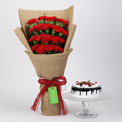 20 Red Carnations And Black Forest Cake