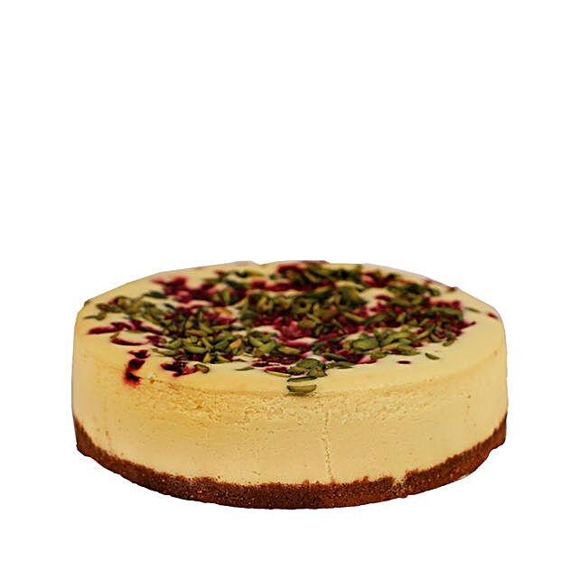 Raspberry Pistachio Cheesecake