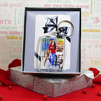 Photo Keychain With A Gift Box