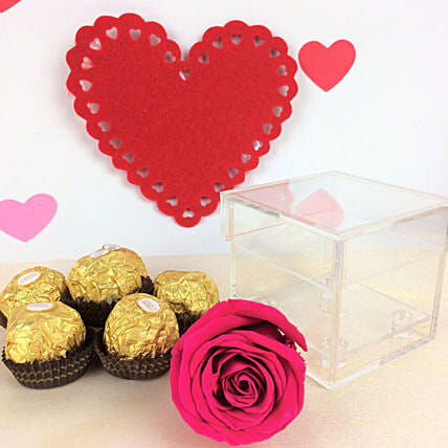 Forever Pink Rose N Chocolates