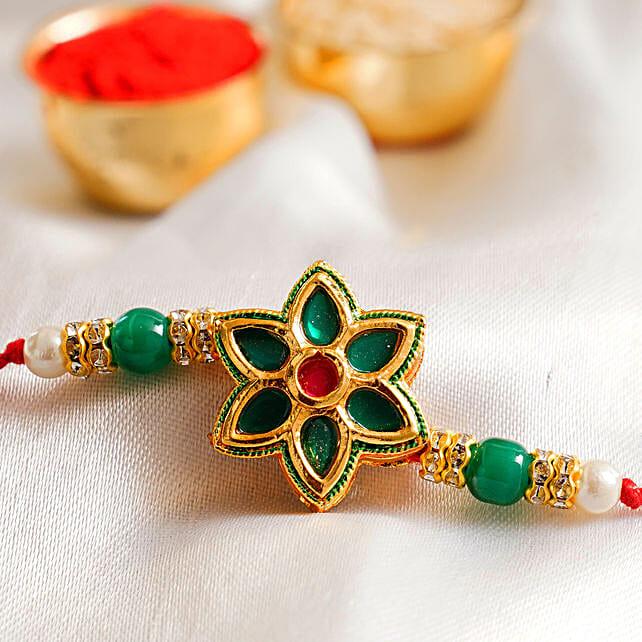 Green Floral Jewellery Rakhi