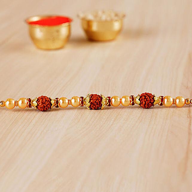 Golden Red Beaded Rudraksh Rakhi:Pearl Rakhi to Canada