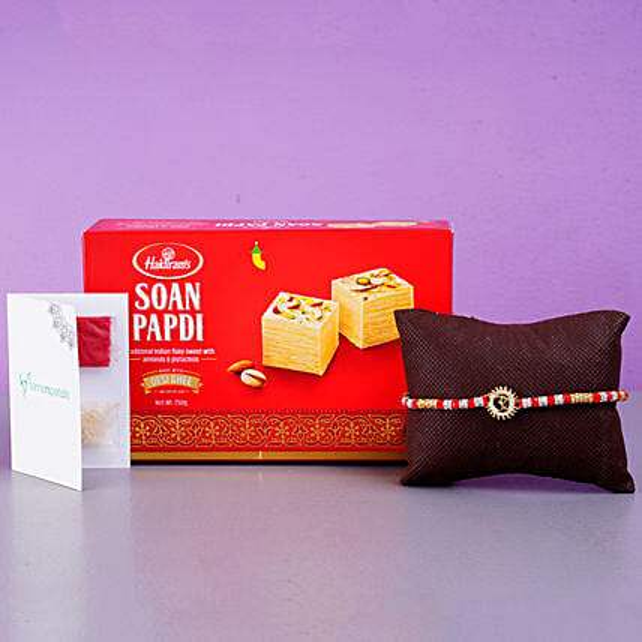 Om Bracelet And Soan Papdi Combo:Rudraksha Rakhi to Canada