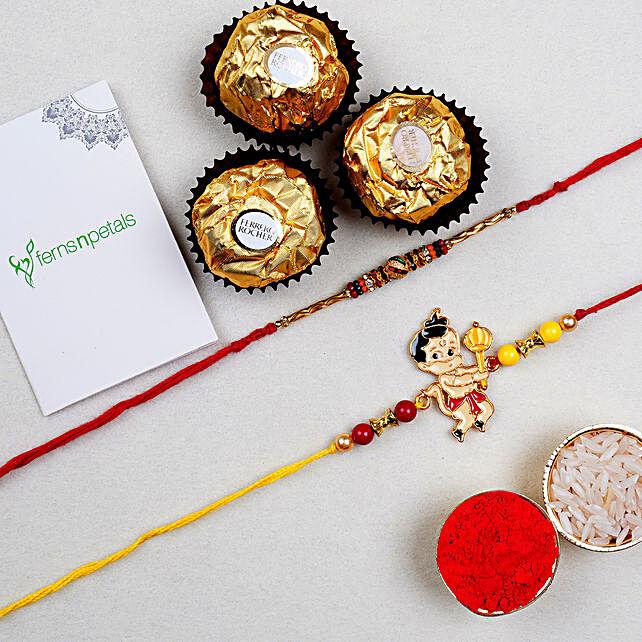 Beautiful Meena Thread Rakhi And Kids Rakhi With 3 Pcs Ferrero Rocher