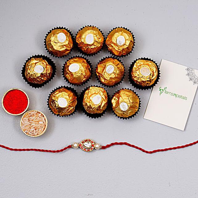 Beautiful Red Kundan Drops Rakhi And 12 Pcs Ferrero Rocher