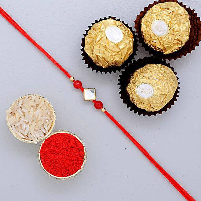 Designer Rakhi N Ferrero Rocher 3 Pcs