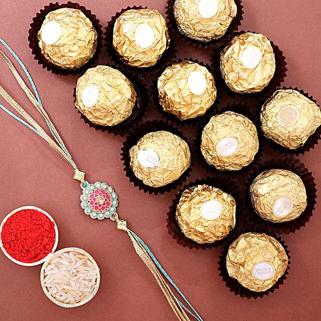 Stylish Rakhi N Ferrero Rocher 12 Pcs