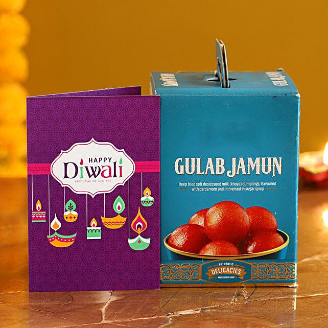 Gulab Jamun With Diwali Card:bhai dooj sweets