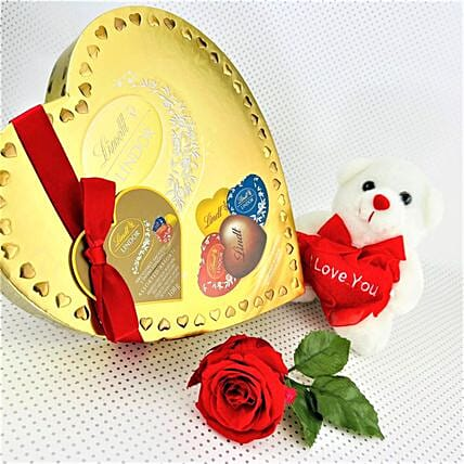 Lindt Assorted Chocolates With Love Teddy:Roses Delivery in Canada