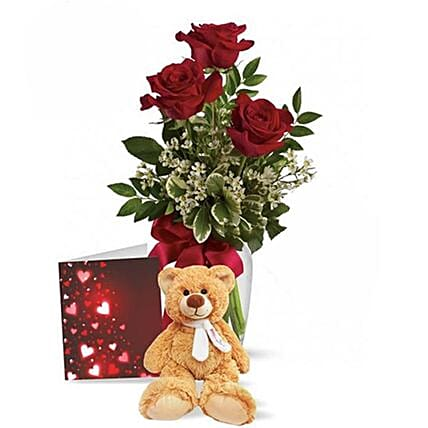 Cute Teddy Special Roses Gift