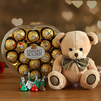 Ferrero Rocher With Cute Teddy:Send Gift to Canada Same Day Delivery