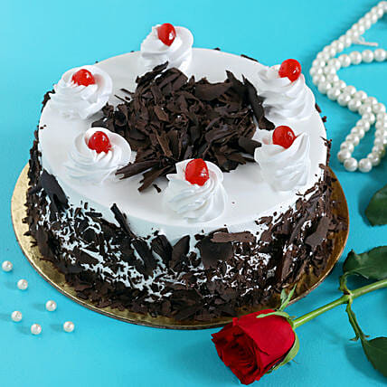 Rose N Black Forest Cake:Valentines Day Cake Delivery in Canada