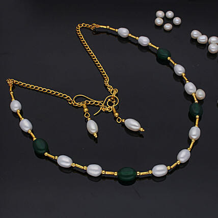 Zig zag Pearl Set:Artificial Jewellery Gifts to Canada
