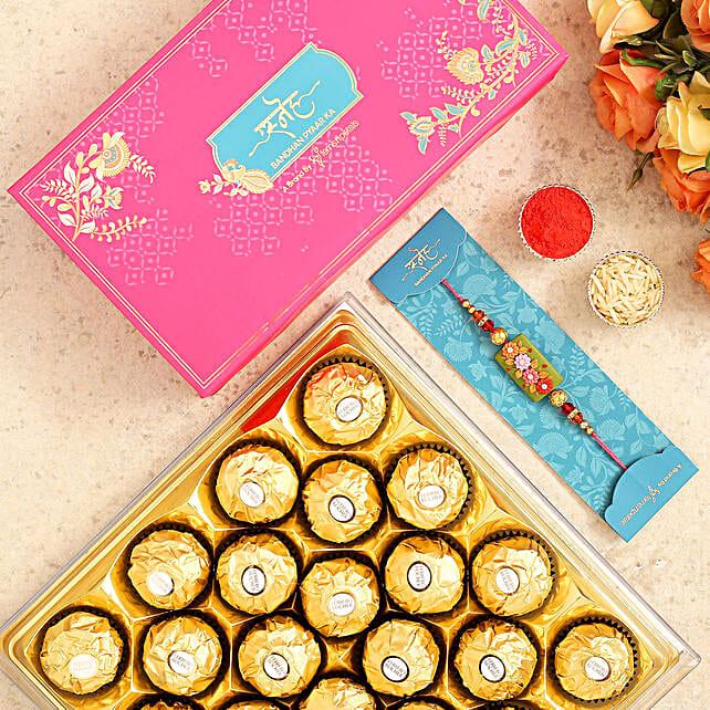 Rectangular Floral Kids Rakhi And 15 Pcs Ferrero Rocher