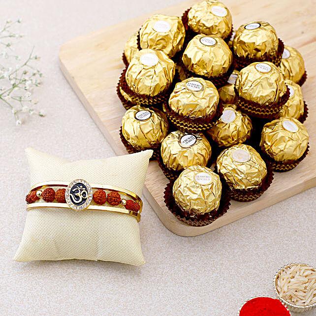 Om And Rudraksha Bracelet Rakhi With 15 Pcs Ferrero Rocher