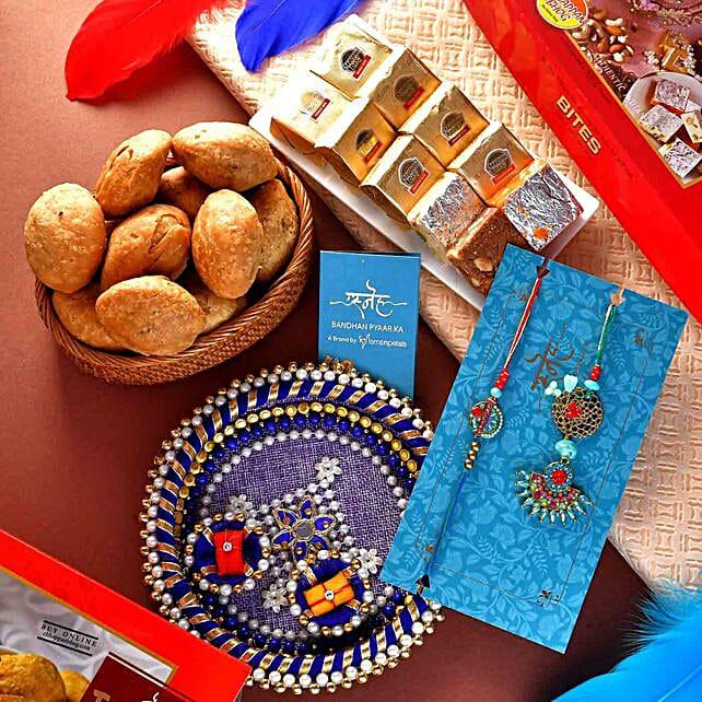 Antique Lumba Rakhi Set With Mewa Bites And Mini Khasta