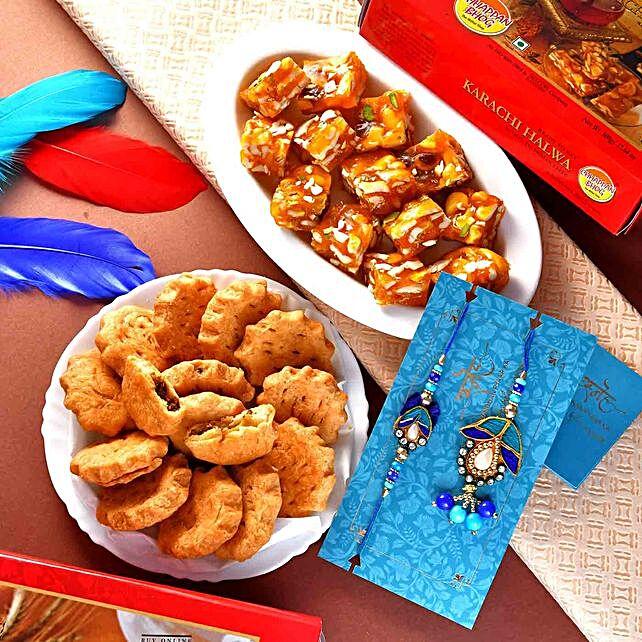 Blue Beads Lumba Rakhi Set With Karachi Halwa And Mathri:Ethnic Rakhi to Canada
