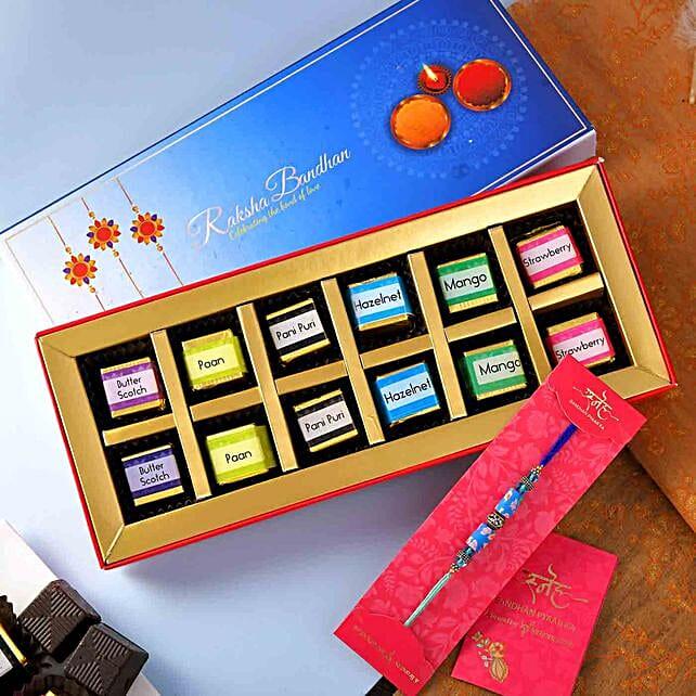Designer Beads Rakhi And Handmade Chocolate Tray