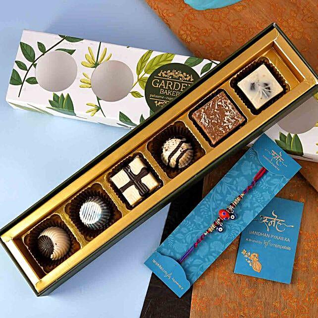 Evil Eye Beads Rakhi And Handmade Chocolate Tray:Single Rakhi to Canada
