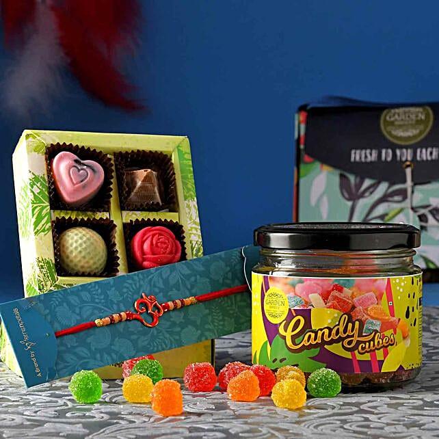 Red Om Rakhi With Chocolate Box And Candy Jar:Single Rakhi to Canada
