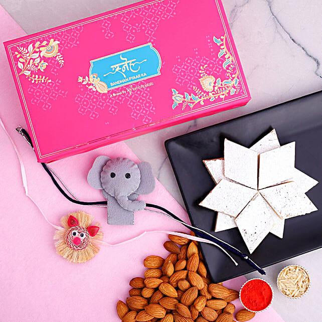Peppa Pig And Elephant Kids Rakhi With Almonds And Kaju Katli:Send Cartoon Rakhi to Canada