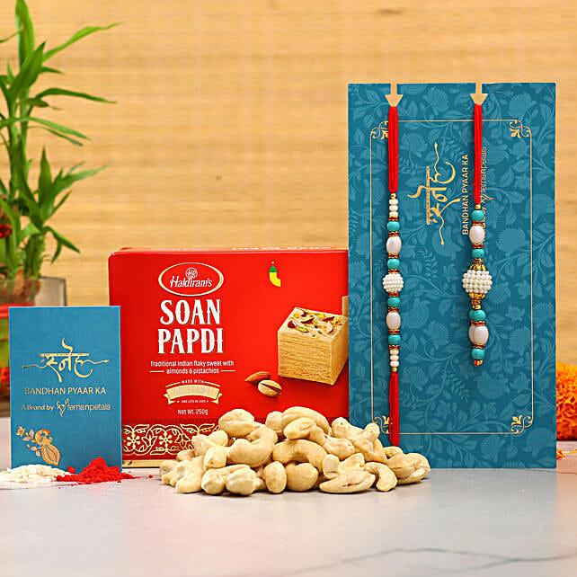 Blue Pearl Lumba Rakhi Set And Cashew With Soan Papdi