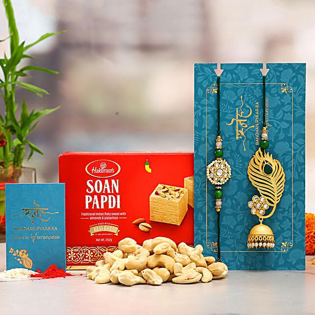 Feather And Jhumka Lumba Rakhi Set And Cashew With Soan Papdi:All Rakhi - Canada