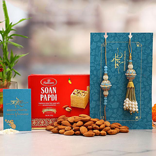 Orb Pearl Lumba Rakhi Set And Almonds With Soan Papdi