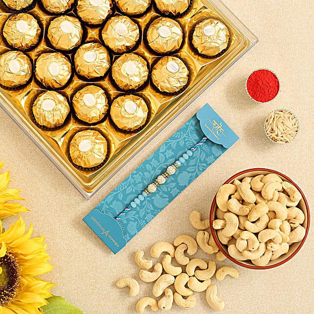 Sea Blue Pearls Rakhi And Cashew With 12 Pcs Ferrero Rocher:All Rakhi - Canada