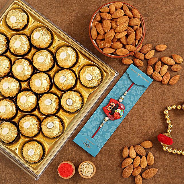 Maroon Owl Kids Rakhi And Almonds With Ferrero Rocher:Rakhi with Dry Fruits to Canada