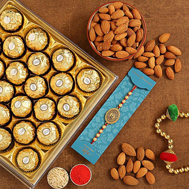Om Pearl Rakhi And Almonds With Ferrero Rocher