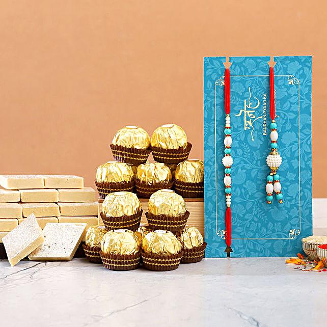 Lumba Rakhi Set And Kaju Katli With 12 Pcs Ferrero Rocher