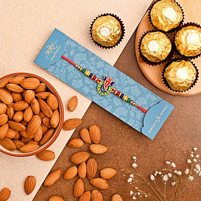 Lord Ganesha Rakhi And Almonds With Ferrero Rocher