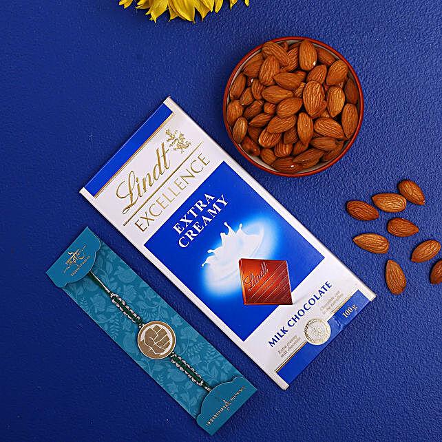 Hulk Kids Rakhi With Almonds And Lindt Chocolate