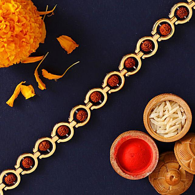 Spiritual Rudraksha Style Rakhi:Devotional Rakhi to Canada