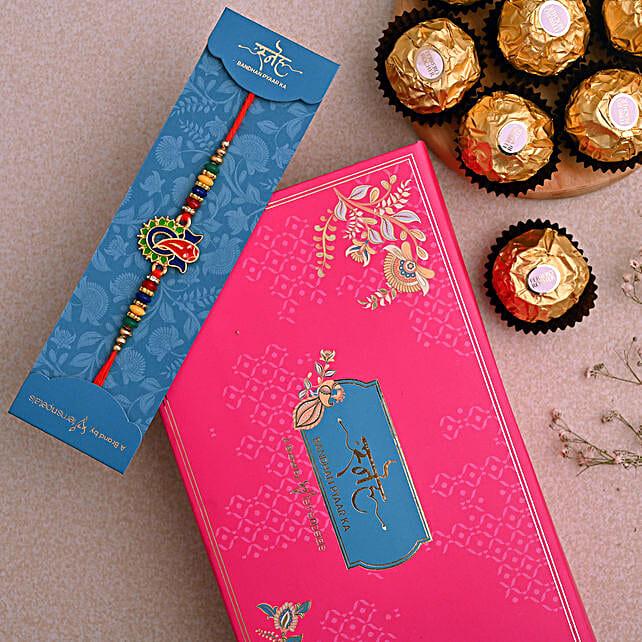 Multicoloured Lord Ganesha Rakhi And 3 Pcs Ferrero Rocher