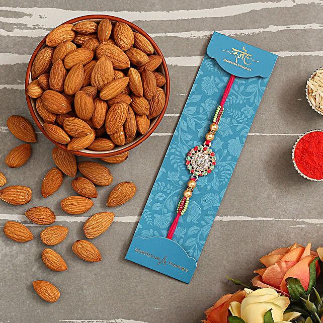 American Diamond Floral Rakhi And Healthy Almonds