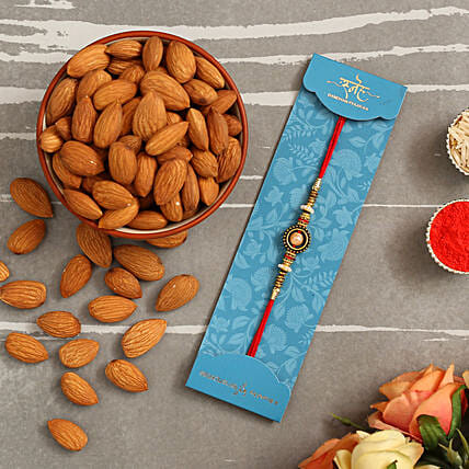 Pearl In A Circle Rakhi And Healthy Almonds