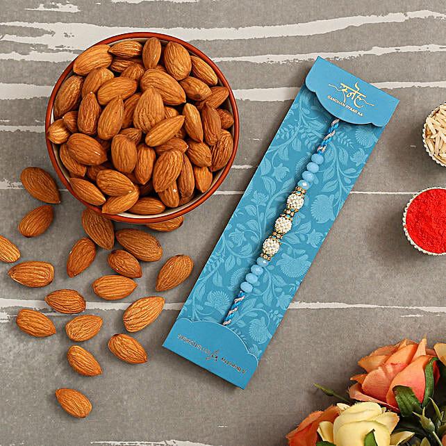 Sea Blue Pearl Designer Rakhi And Healthy Almonds