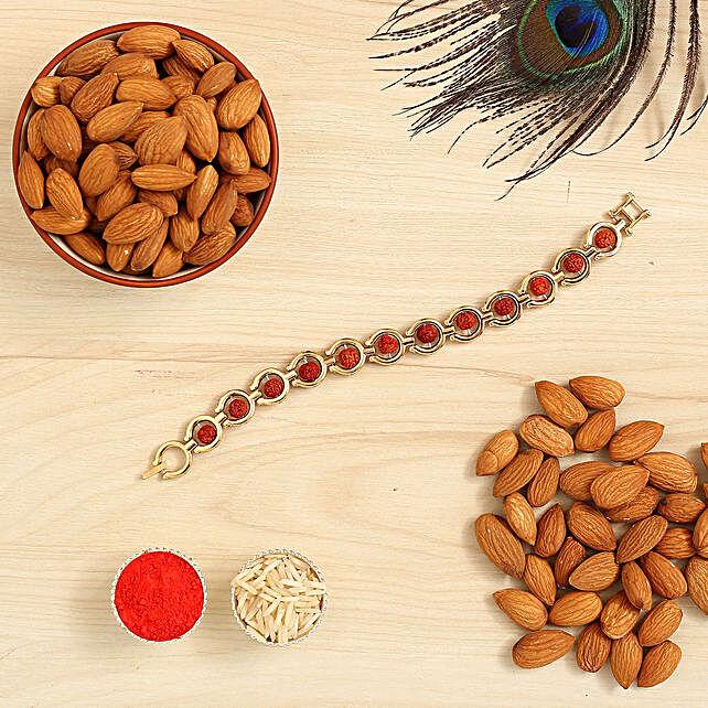 Spiritual Rudraksha Bracelet Rakhi And Healthy Almonds