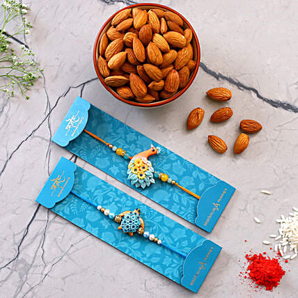 Peacock And Turtle Rakhi Set With Healthy Almonds